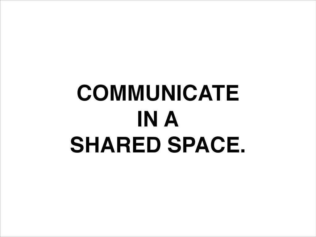 COMMUNICATE! IN A! SHARED SPACE.