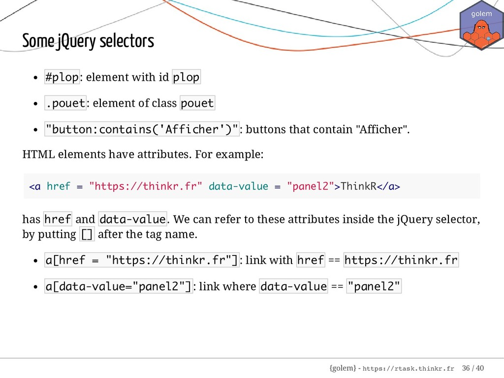Some jQuery selectors #plop: element with id pl...