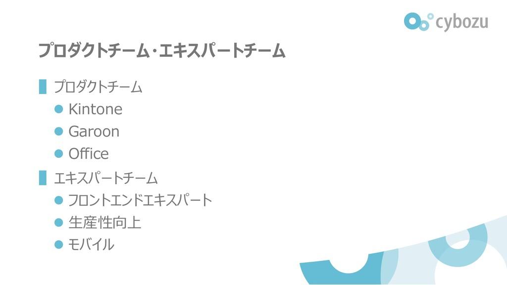 プロダクトチーム・エキスパートチーム ▌プロダクトチーム ⚫ Kintone ⚫ Garoon...