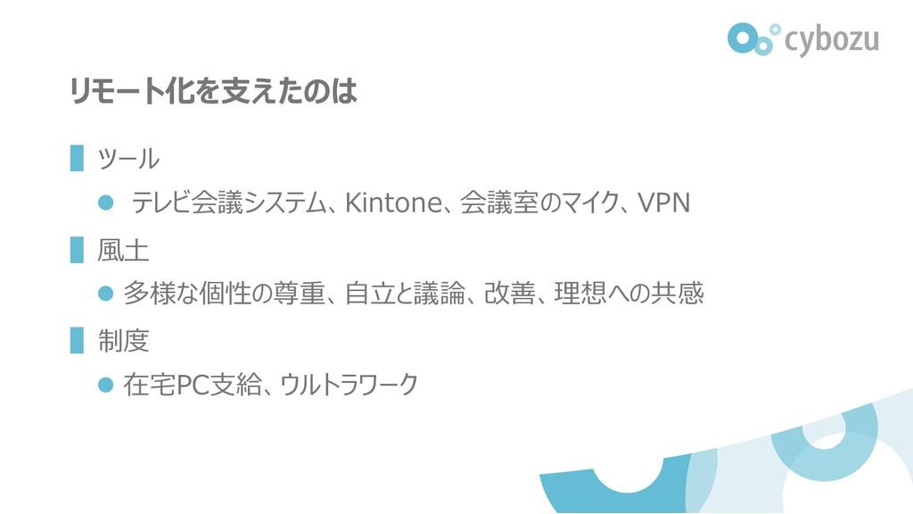 リモート化を支えたのは ▌ツール ⚫ テレビ会議システム、Kintone、会議室のマイク、VP...