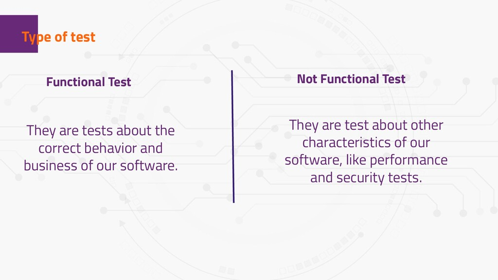 1 Type of test Functional Test Not Functional T...