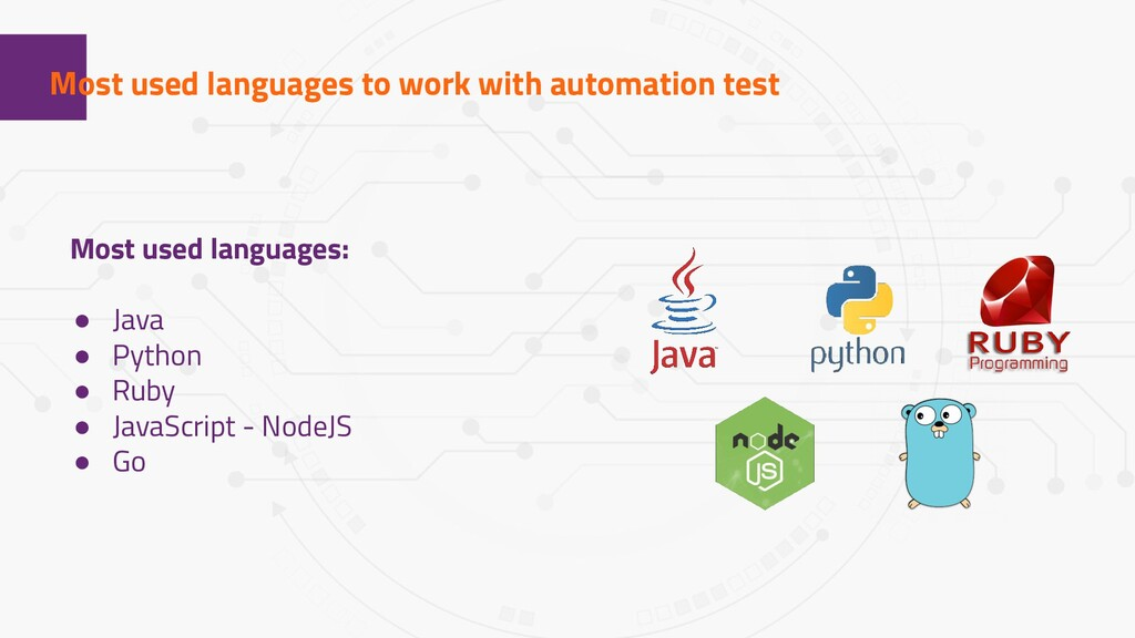 1 Most used languages to work with automation t...