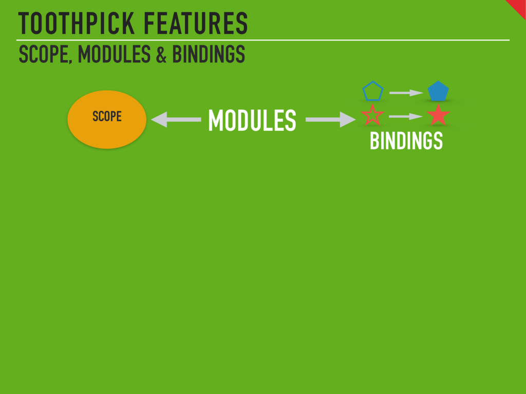 TOOTHPICK FEATURES SCOPE, MODULES & BINDINGS SC...