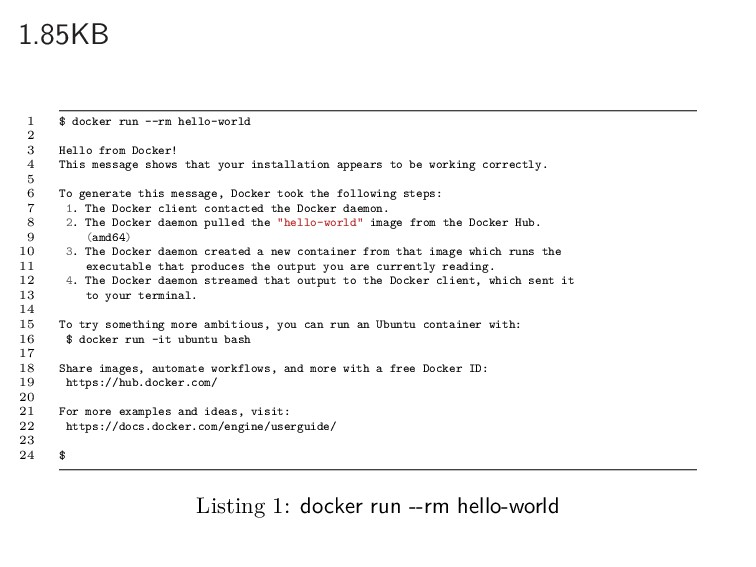 1.85KB 1 $ docker run --rm hello-world 2 3 Hell...