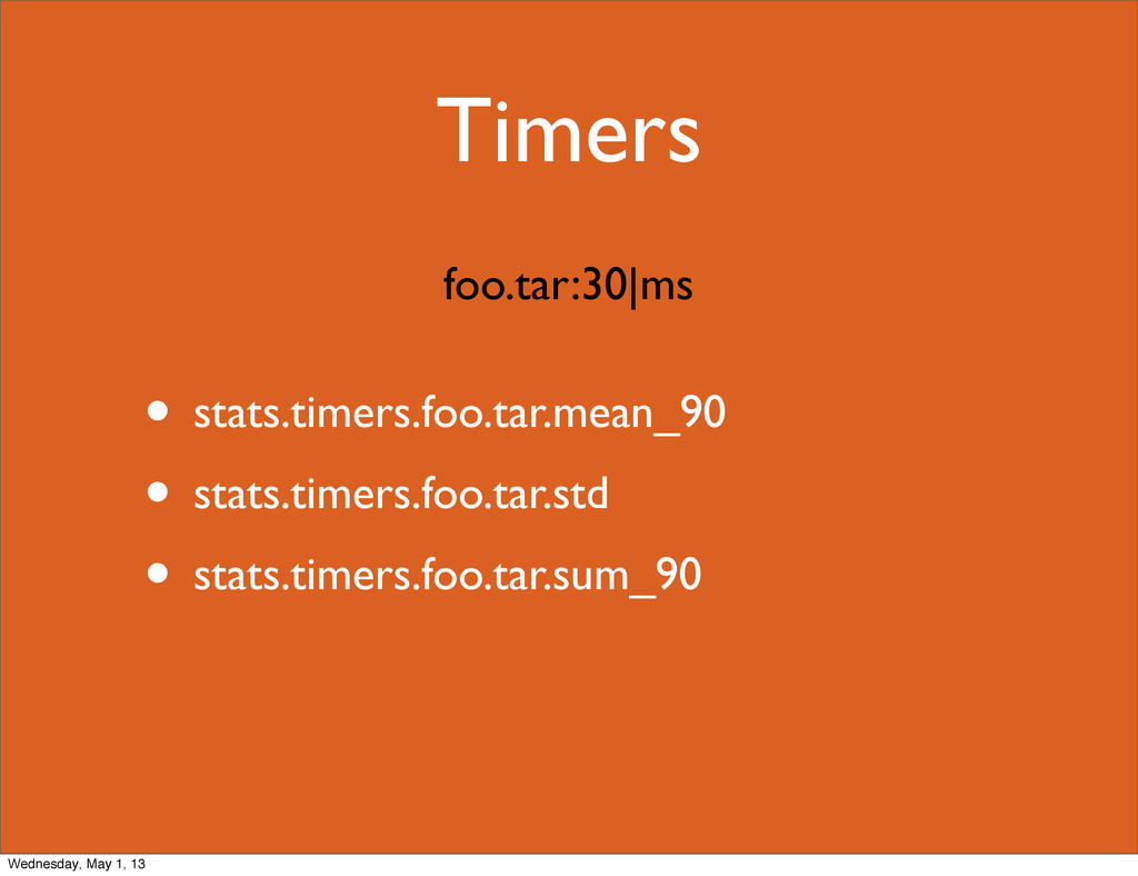Timers • stats.timers.foo.tar.mean_90 • stats.t...