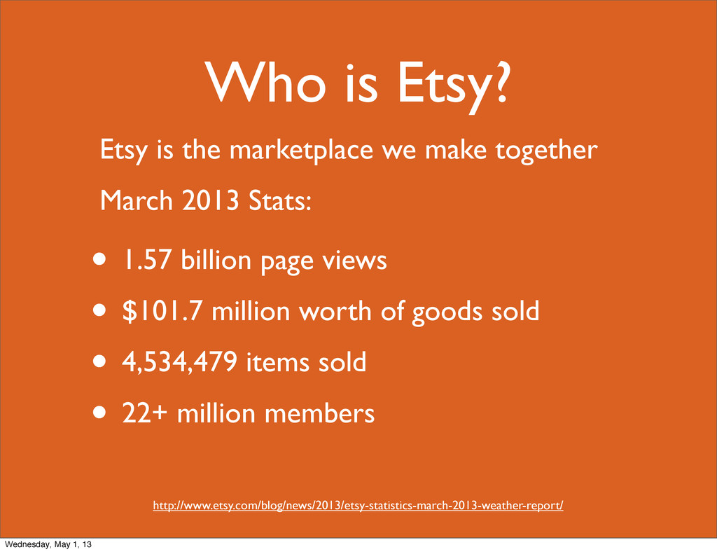 Who is Etsy? • 1.57 billion page views • $101.7...