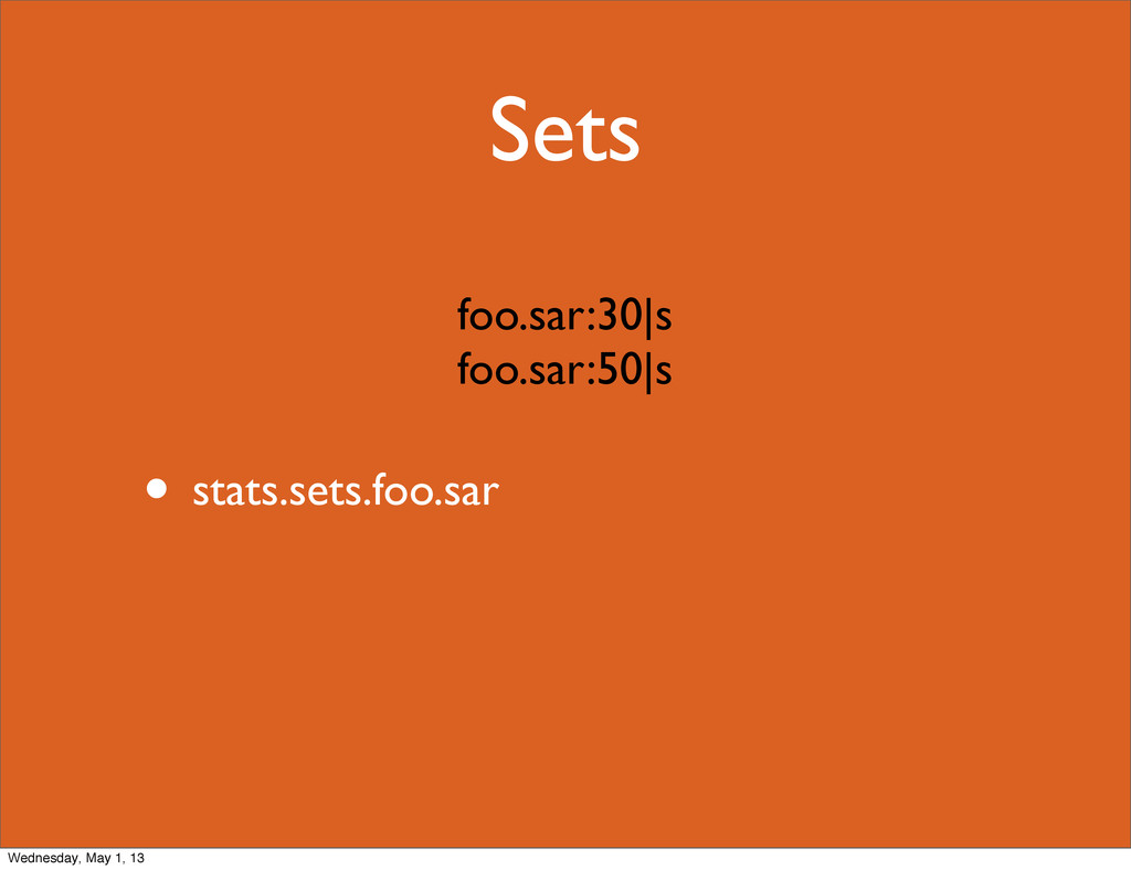 Sets • stats.sets.foo.sar foo.sar:30|s foo.sar:...
