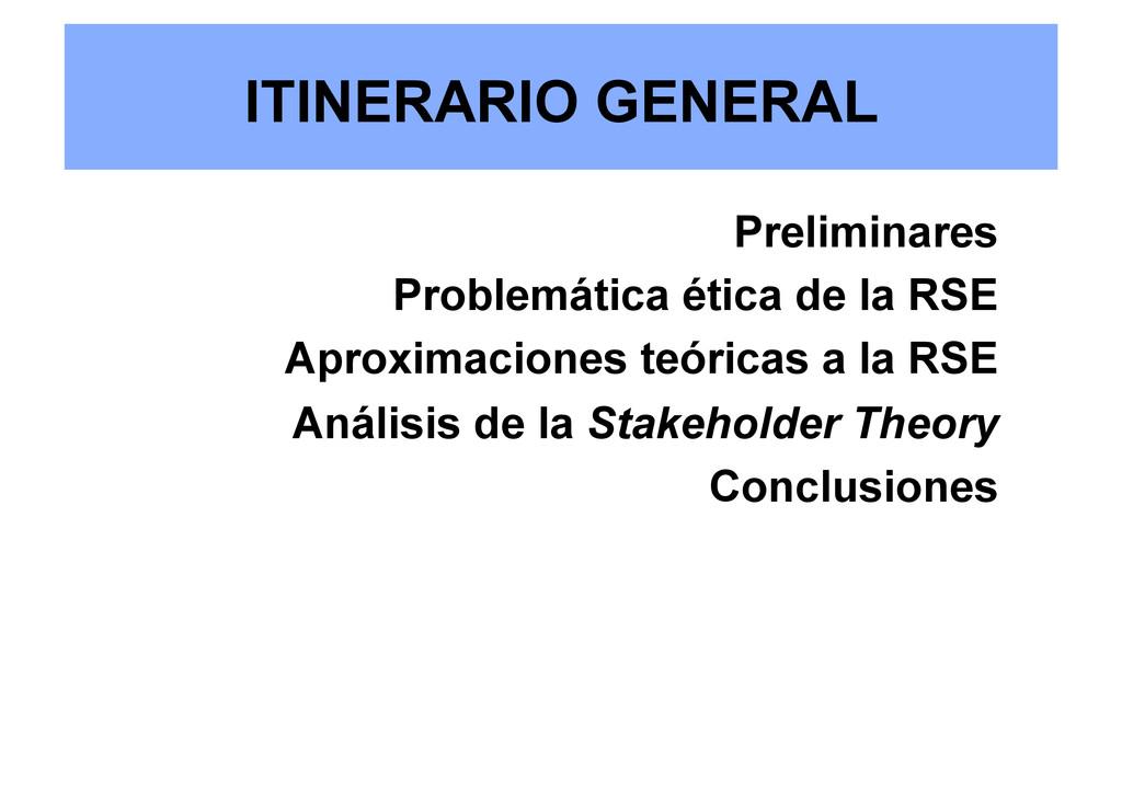 ITINERARIO GENERAL Preliminares Problemática ét...