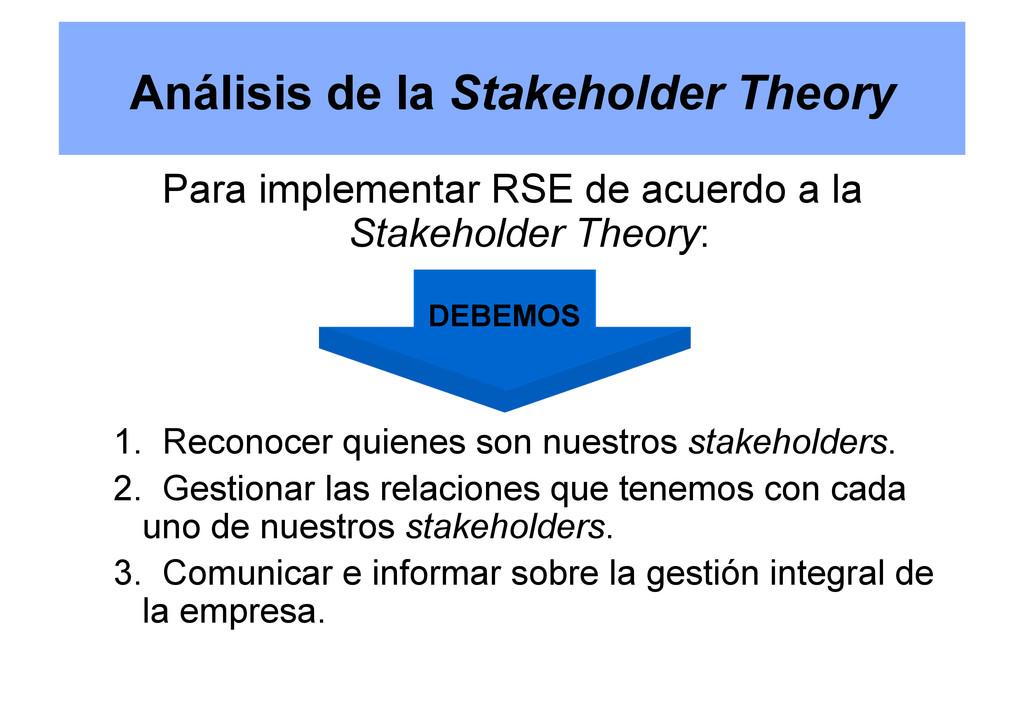 Análisis de la Stakeholder Theory Para implemen...