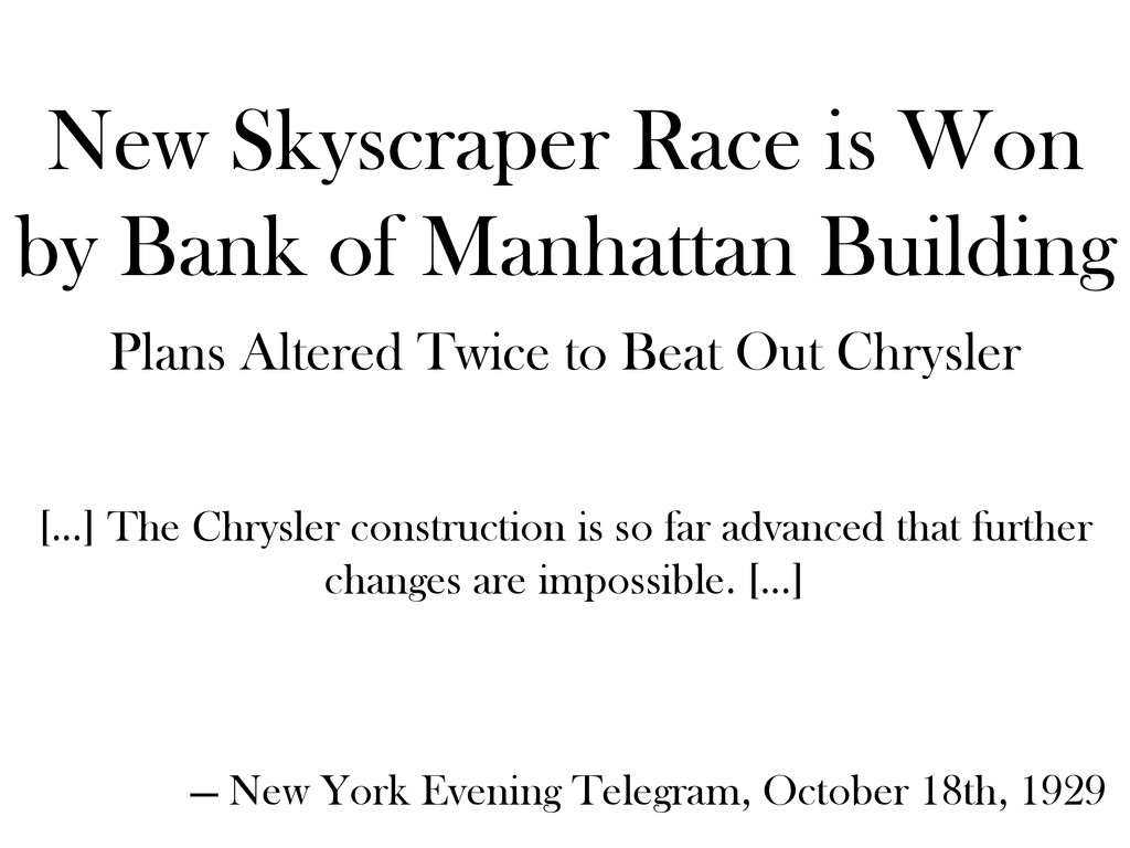 New Skyscraper Race is Won by Bank of Manhattan...