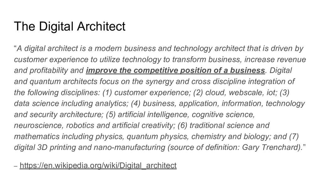 "The Digital Architect ""A digital architect is a..."