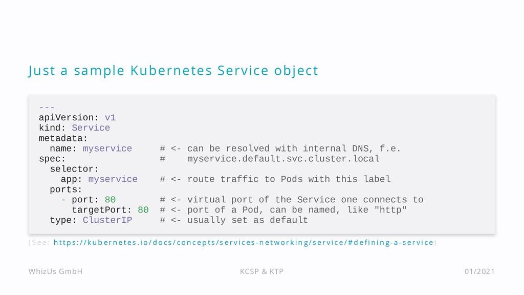 Just a sample Kubernetes Service object --- api...