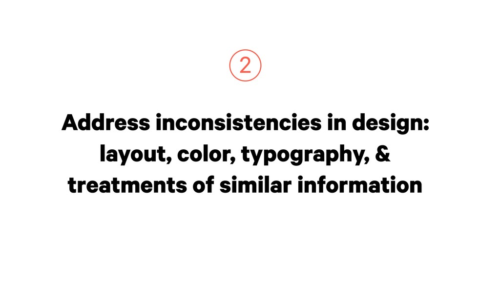 Address inconsistencies in design: layout, colo...