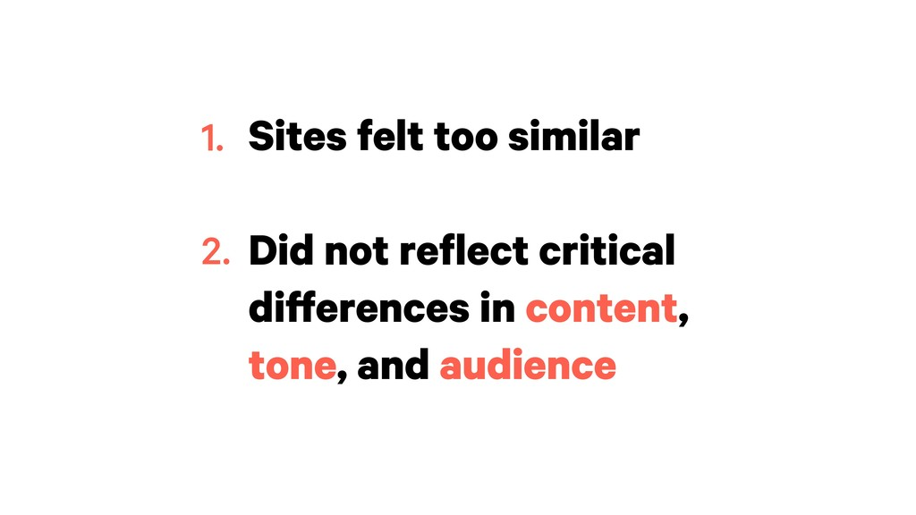 Sites felt too similar Did not reflect critical...