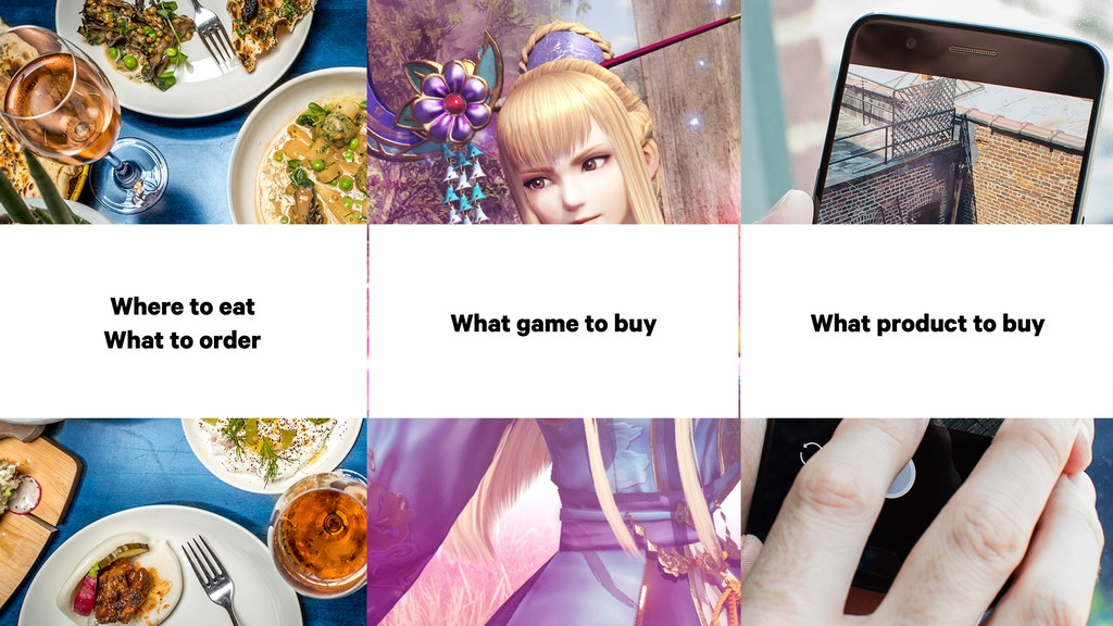Where to eat What to order What game to buy Wha...