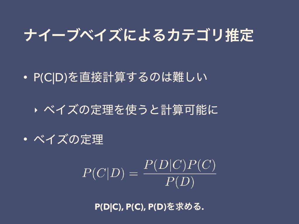 φΠʔϒϕΠζʹΑΔΧςΰϦਪఆ • P(C D)Λܭ͢Δͷ͍͠ ‣ ϕΠζͷఆཧΛ...