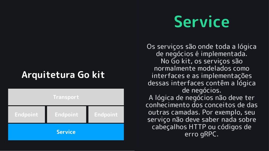 Service Os serviços são onde toda a lógica de n...