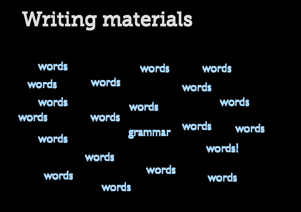 Writing materials words words words words words...