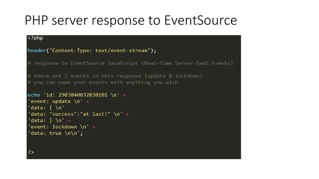 PHP server response to EventSource