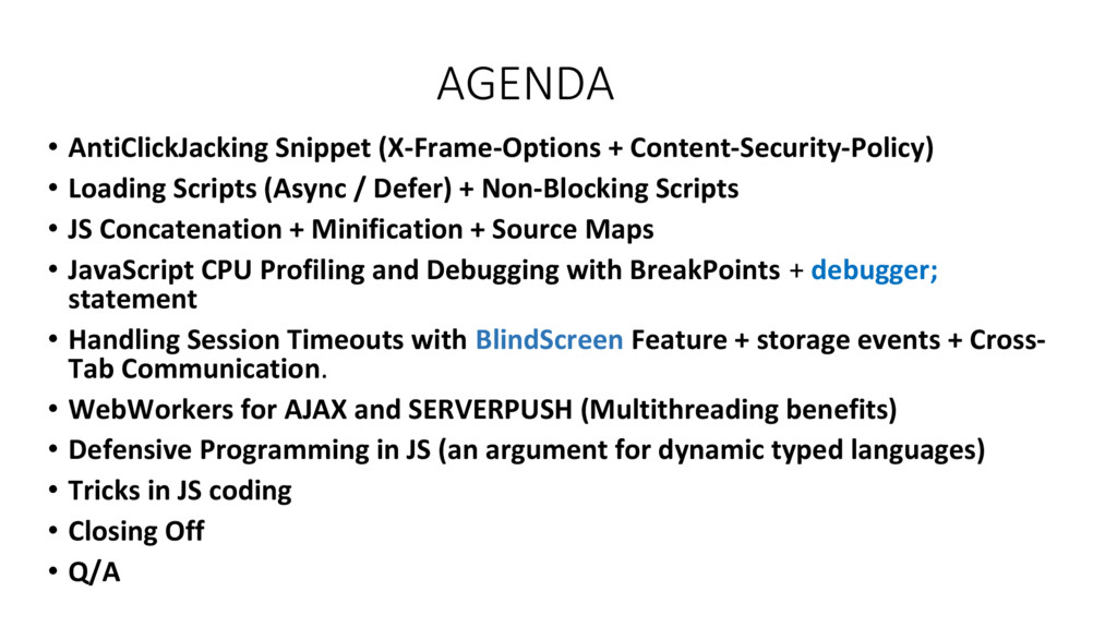 AGENDA • AntiClickJacking Snippet (X-Frame-Opti...