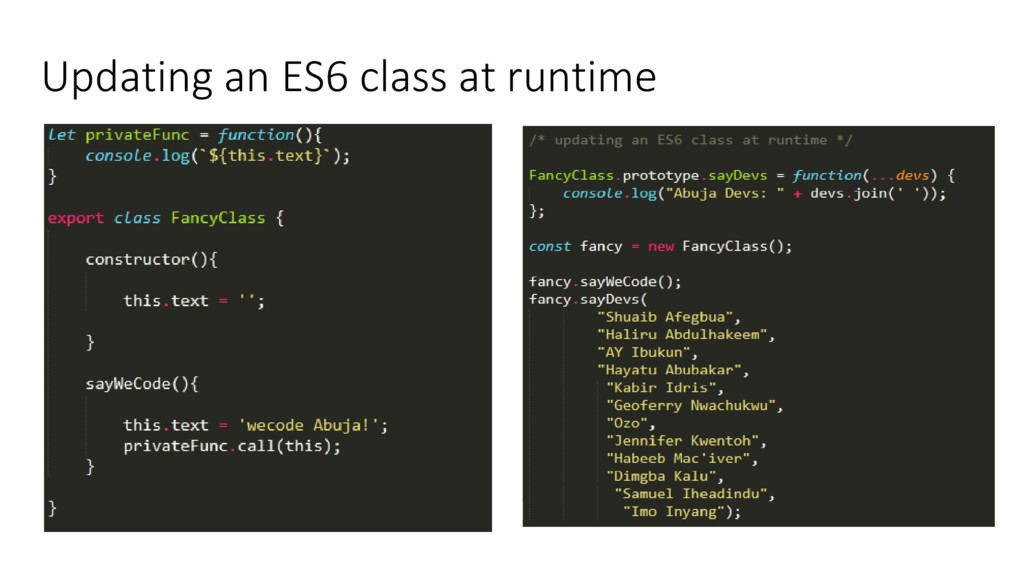 Updating an ES6 class at runtime