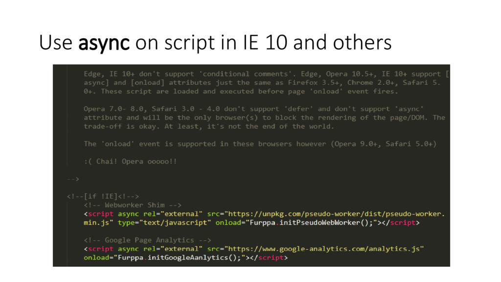 Use async on script in IE 10 and others