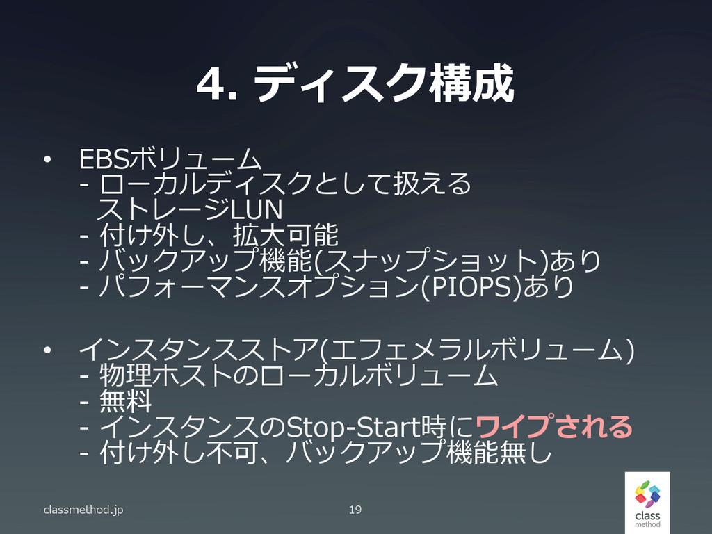 4. ディスク構成 classmethod.jp 19 • EBSボリューム -‐‑‒ ...