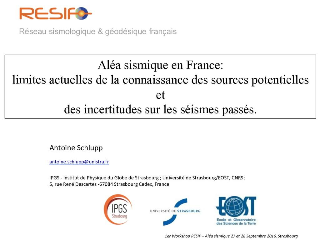 1er Workshop RESIF – Aléa sismiq...