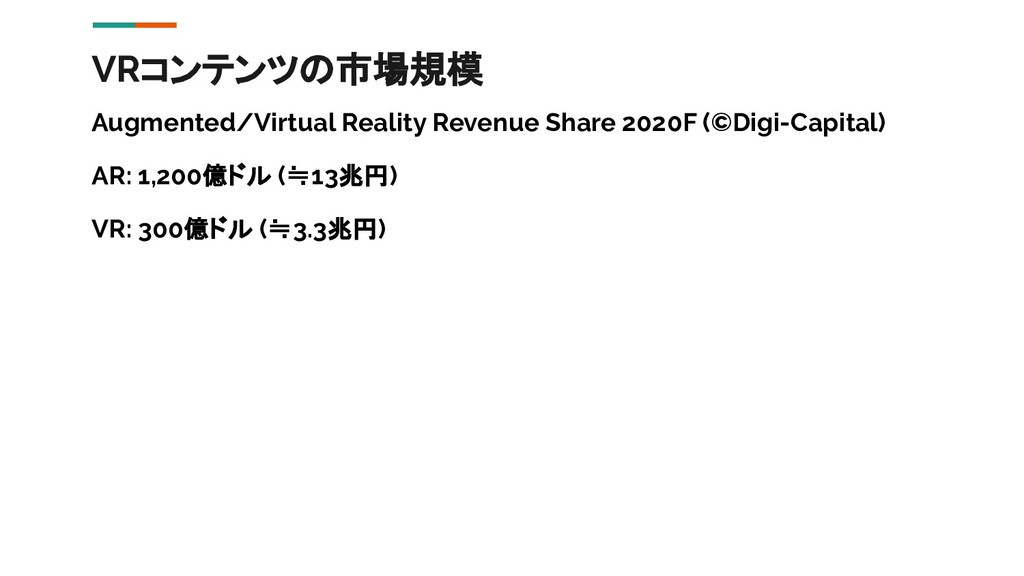 VRコンテンツの市場規模 Augmented/Virtual Reality Revenue ...