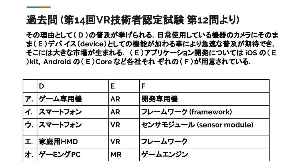過去問 (第14回VR技術者認定試験 第12問より) その理由として( D )の普及が挙げられ...