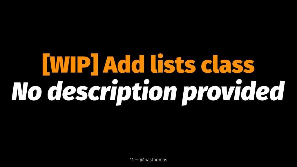 [WIP] Add lists class No description provided 1...
