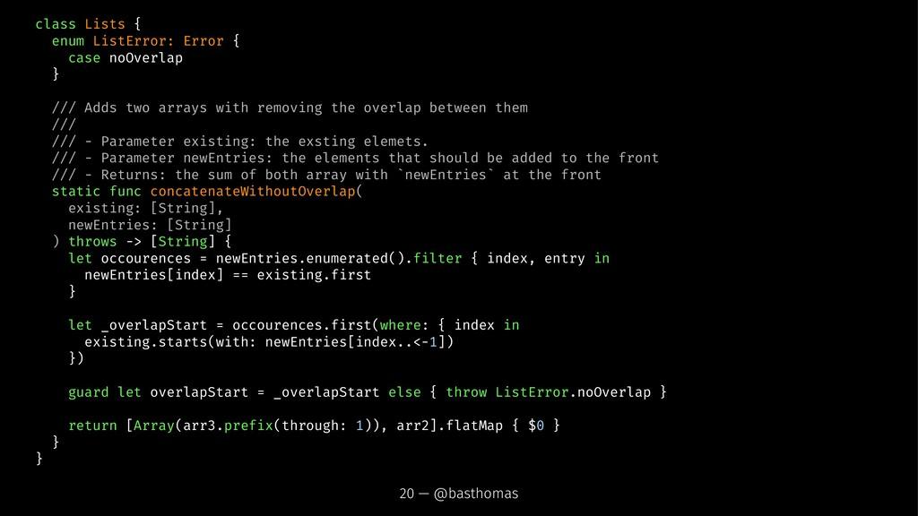 class Lists { enum ListError: Error { case noOv...