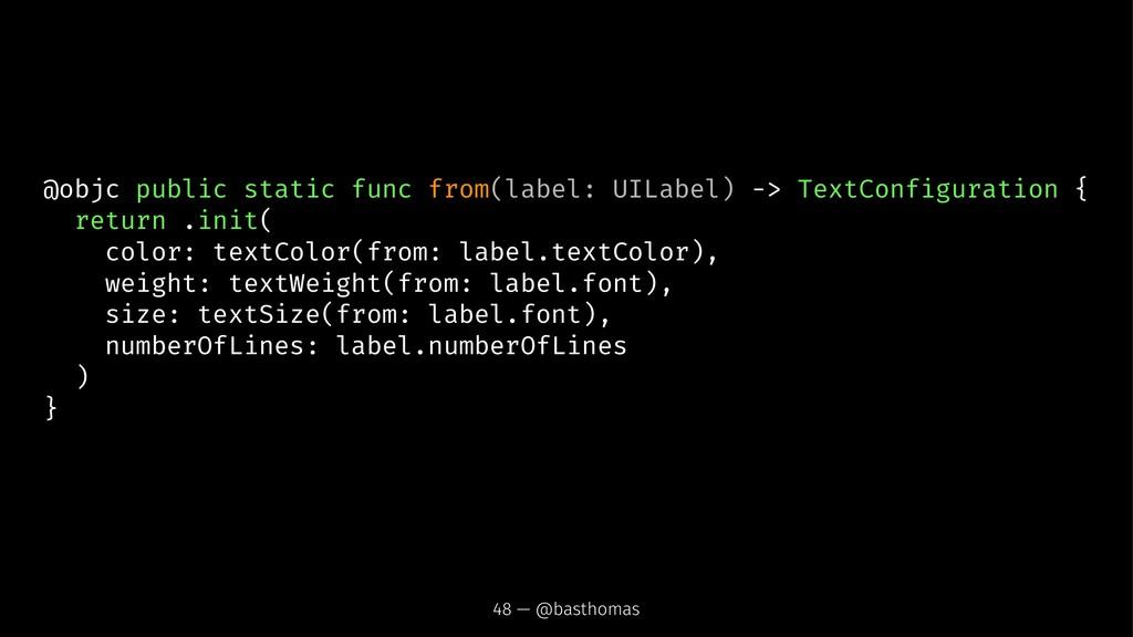 @objc public static func from(label: UILabel) -...