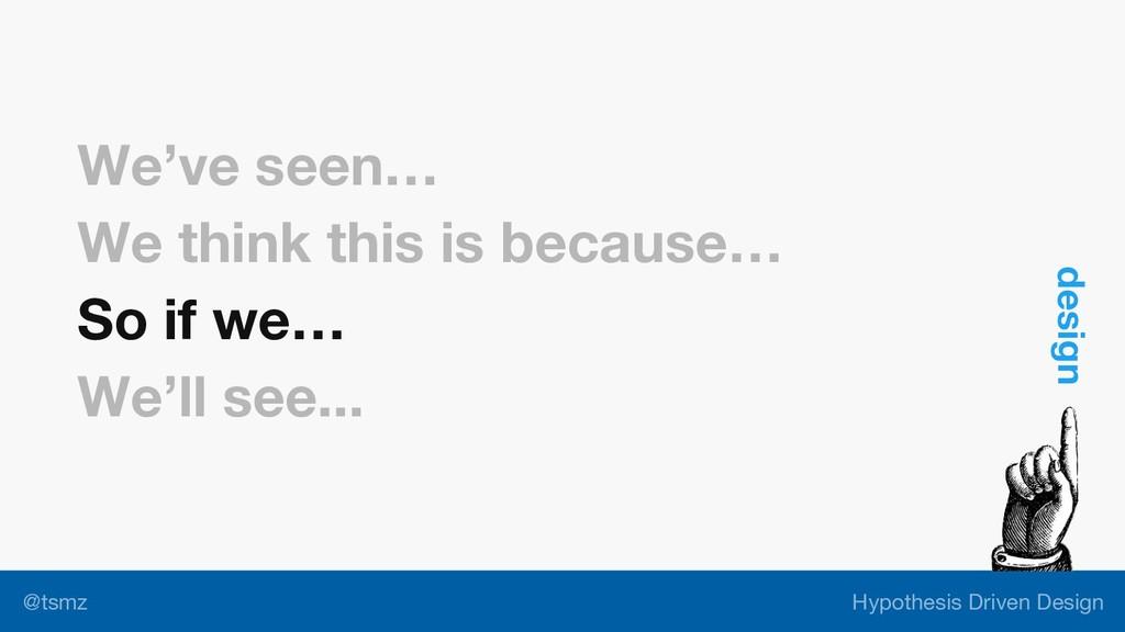 Hypothesis Driven Design @tsmz We've seen… We t...