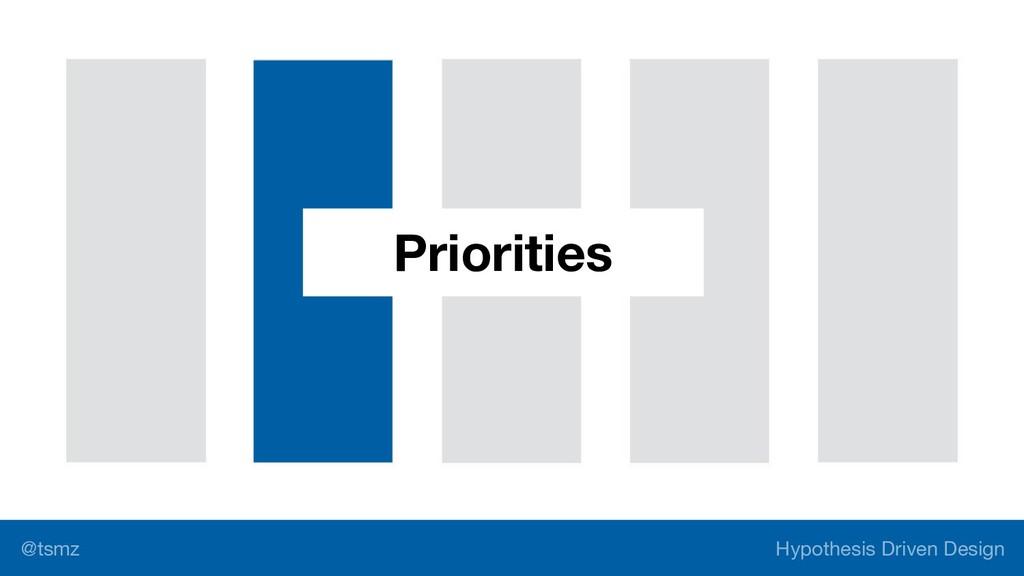 Hypothesis Driven Design @tsmz Priorities