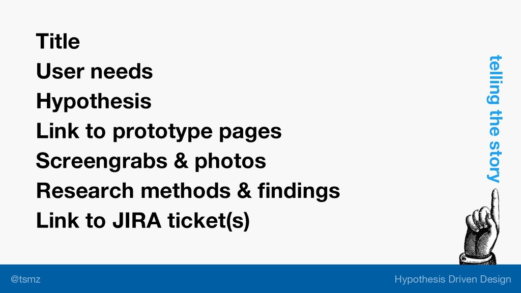 Hypothesis Driven Design @tsmz Title User needs...