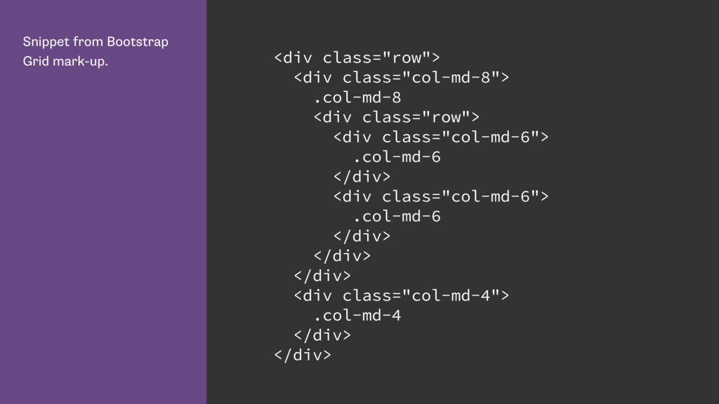 Snippet from Bootstrap Grid mark-up. <div class...