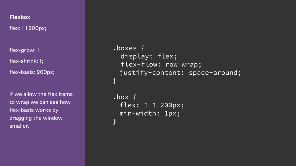 Flexbox flex: 1 1 200px; flex-grow: 1 flex-shri...