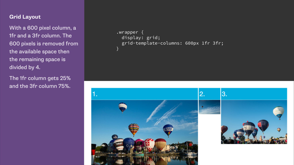 Grid Layout With a 600 pixel column, a 1fr and ...