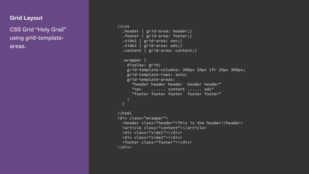 "Grid Layout CSS Grid ""Holy Grail"" using grid-te..."