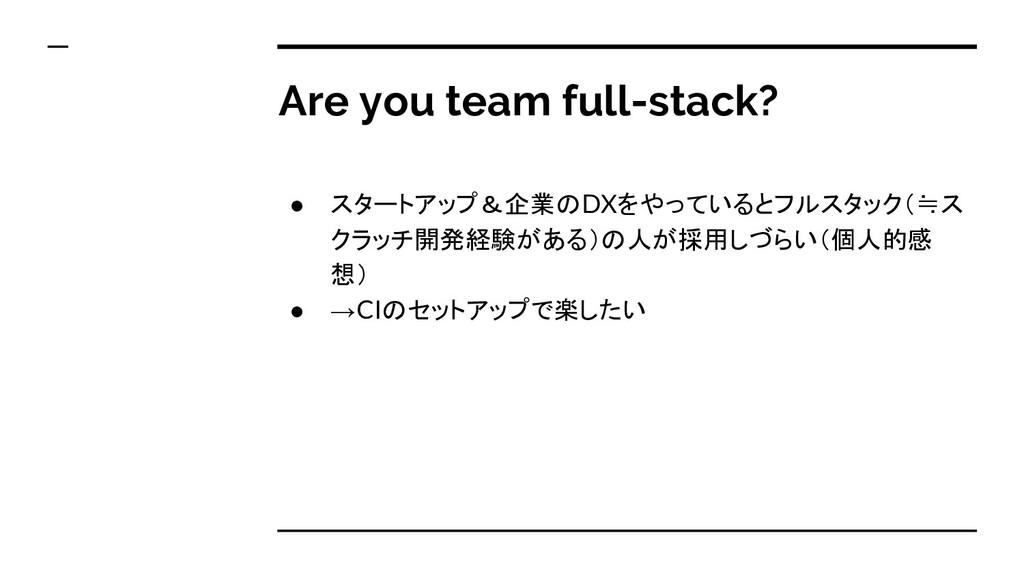 Are you team full-stack? ● スタートアップ&企業のDXをやっていると...