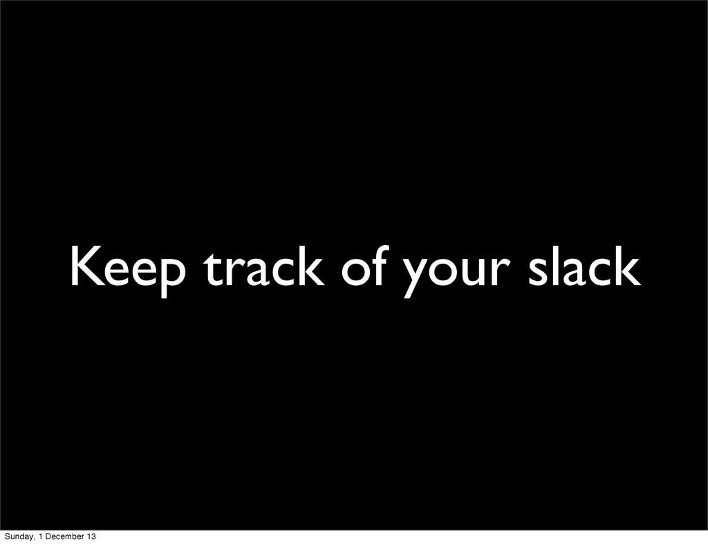 Keep track of your slack Sunday, 1 December 13