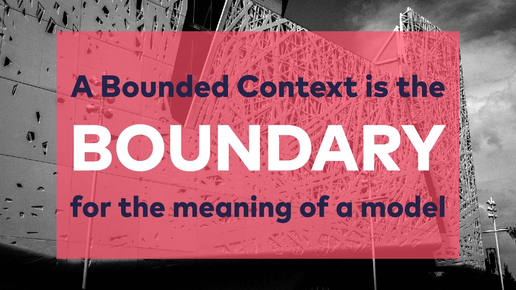 A Bounded Context is the  BOUNDARY for the me...