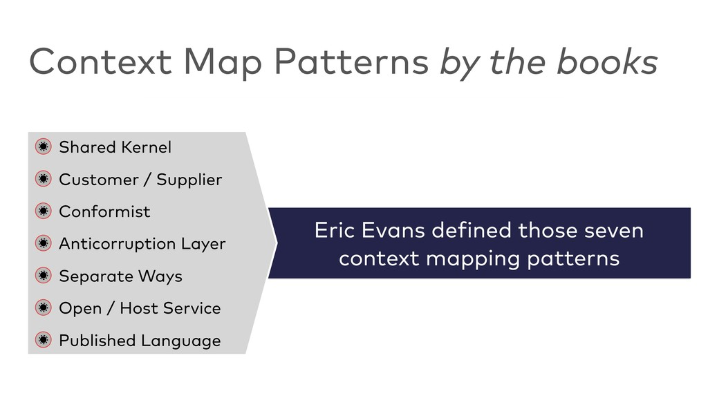 Eric Evans defined those seven  context mappin...