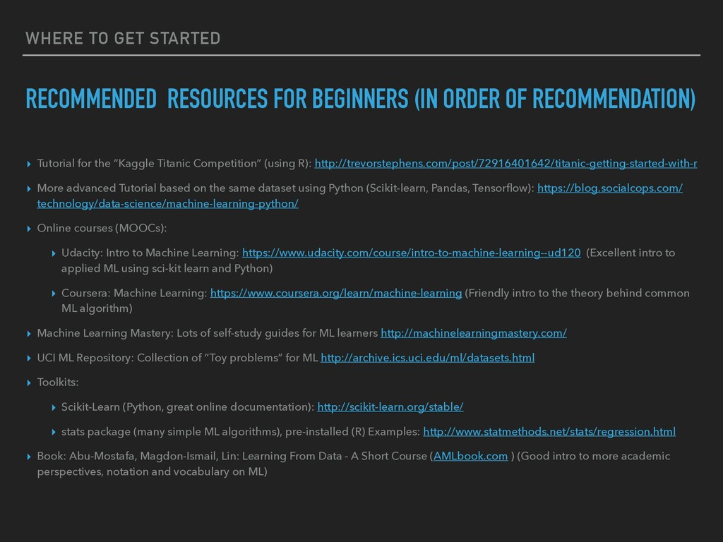 WHERE TO GET STARTED RECOMMENDED RESOURCES FOR ...