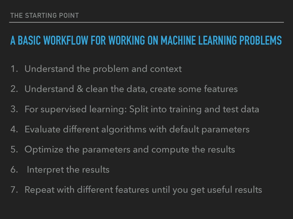 THE STARTING POINT A BASIC WORKFLOW FOR WORKING...