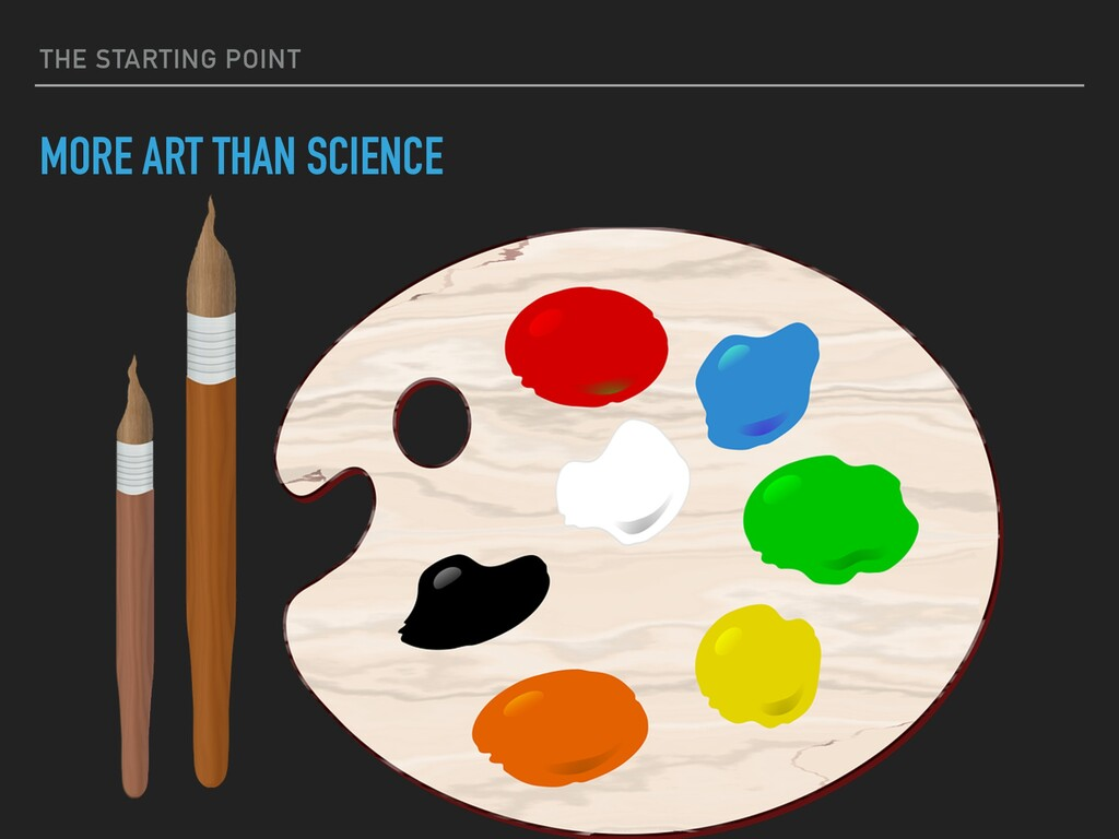 THE STARTING POINT MORE ART THAN SCIENCE