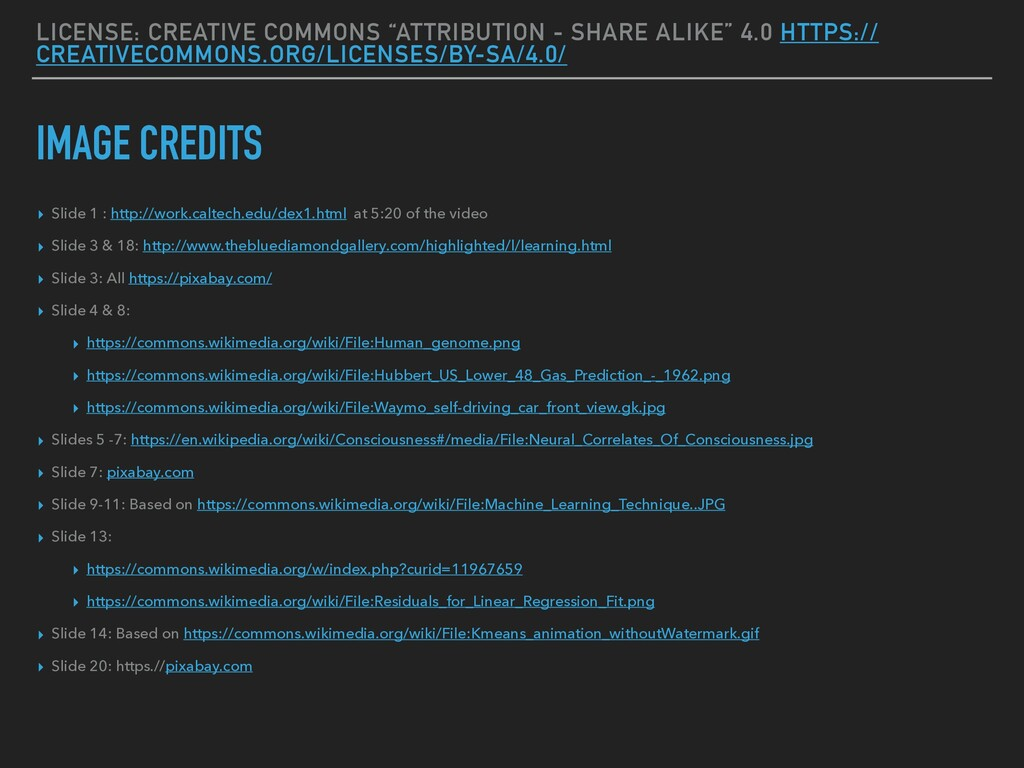 """LICENSE: CREATIVE COMMONS """"ATTRIBUTION - SHARE ..."""
