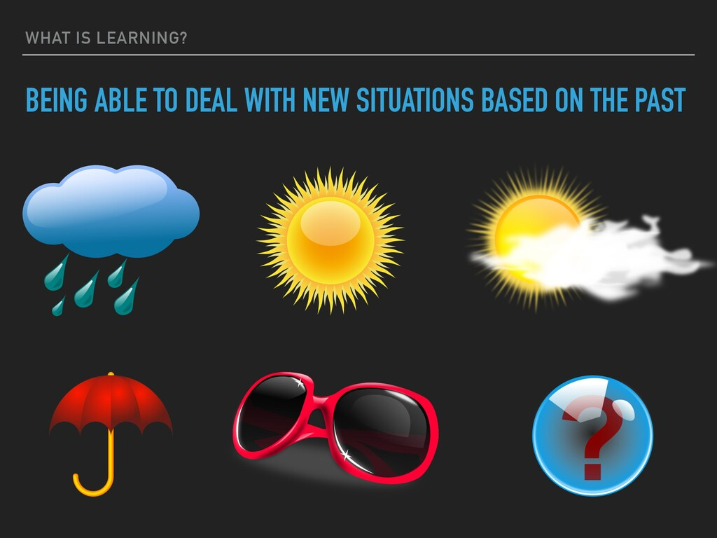 WHAT IS LEARNING? BEING ABLE TO DEAL WITH NEW S...
