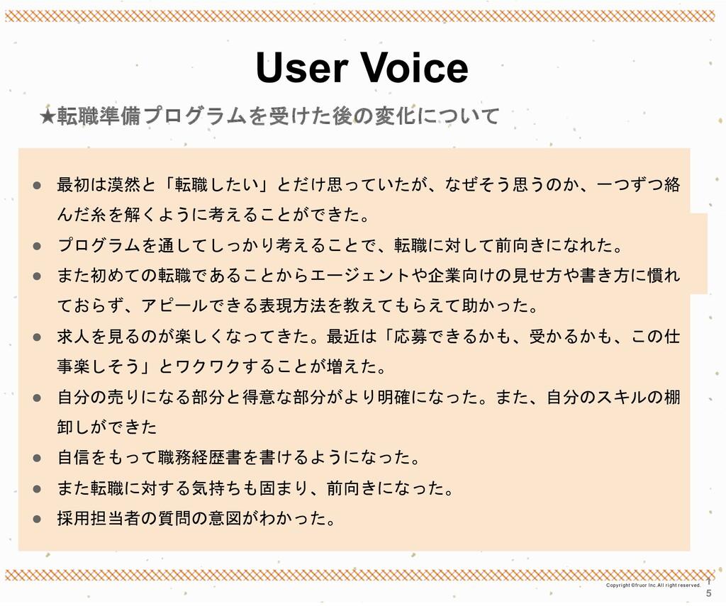 User Voice ★転職準備プログラムを受けた後の変化について 1 5 ● 最初は漠然と「...